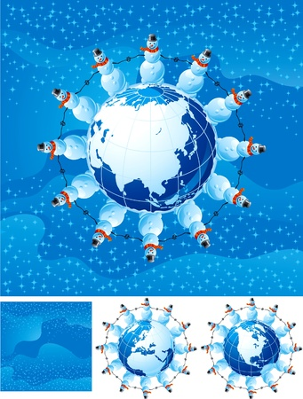 natale: Snowmen and globe. Vector christmas card and it elements. Illustration