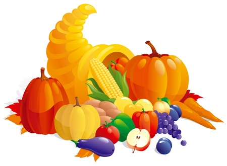 horn of plenty: Cornucopia with fruit, berries  and vegetable.
