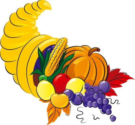 cornucopia: Horn of Plenty. Vector illustration of Cornucopia with fruit, grape  and vegetable.