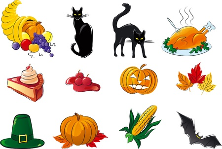 Halloween set. Vector icon set of cornucopia, fruit, berries,  vegetable,  black cats, hat, Turkey, leaves, pumpkin, pie, corn, bat Vector
