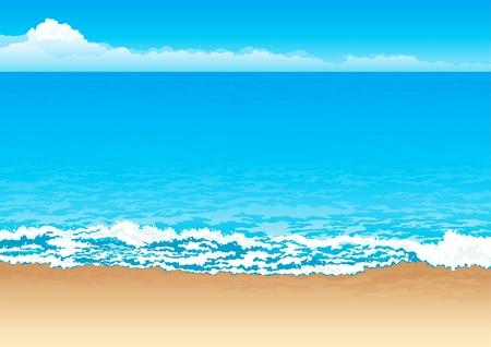 Costa tropical. Vectoriales de fondo de la costa, mar y cielo. Ilustración de vector