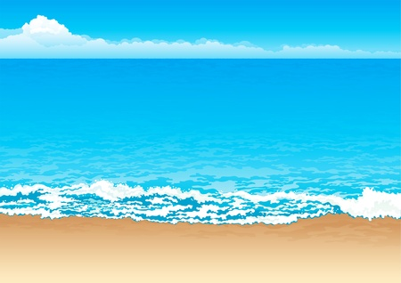 beach scene: Tropical coast. Vector background of coast, sea and sky.