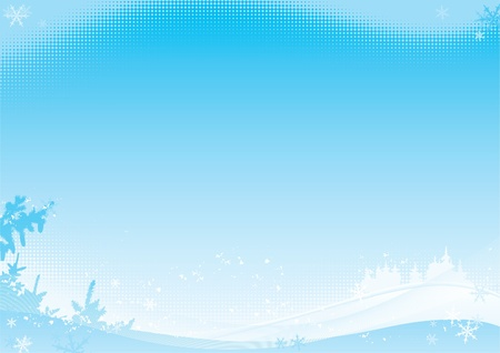 Winter background. Vector illustration with winter horizontal Landscape with fir trees