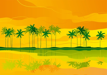 sunsets: Horizontal vector   landscape with tropical coast..