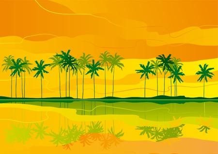 Horizontale vector landschap met tropische kust ..