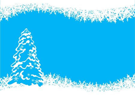 Christmas tree. illustration with stylized christmas tree and snowflakes Vector