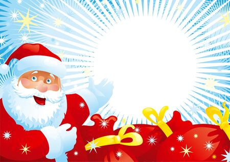 klaus:  Santa Claus and red bags. illustration of Santa Claus, red bags with christmas gifts, many stars on background with copy space for your text