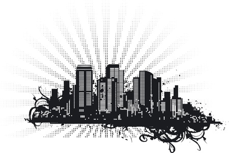 Urban background. Vector abstract skyscrapers on grunge background with  sunbeams.  Vector