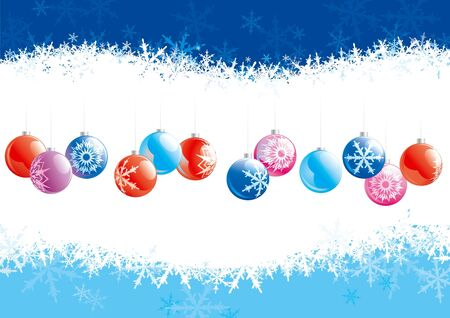 Christmas decoration. Christmas baubles  on backgrounds with snowflakes.  Vector