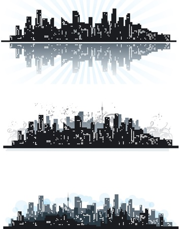 City. Three abstract town silhouettes of skyscrapers on grunge background.  Vector