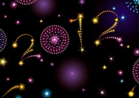 Happy New Year 2012! holiday background with many stars and fireworks on night dark sky.  Figure 2012 like fireworks stars.