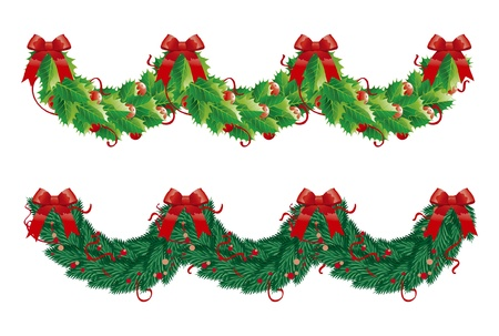Two christmas  garlands (semicircle). holly and fir garlands for christmas decoration in form wave Vector