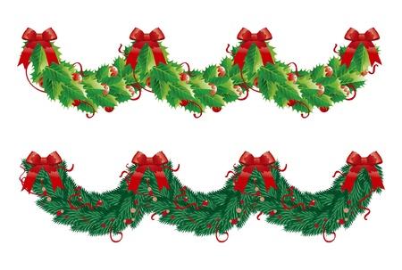Zwei Weihnachts-Girlanden (Halbkreis). Holly und Tannengirlanden für Weihnachtsdekoration in Form Welle Standard-Bild - 11320544