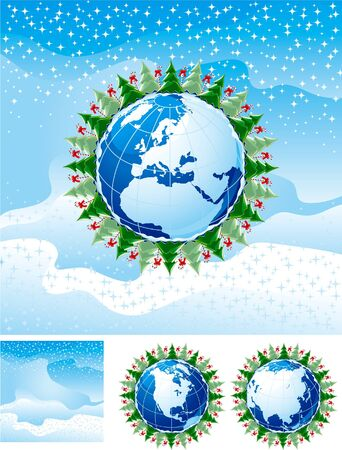 christmas trees and Candy Canes anb globe Vector