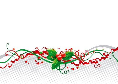 abstract christmas background with holly Illustration