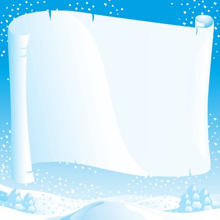 lapland: Christmas winter landscape with empty blank for your text  Illustration