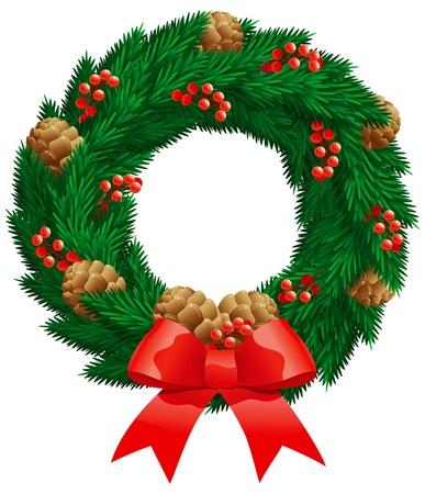 weihnachten tanne: Weihnachts-Tanne Kranz. Weihnachtsdekoration - Tannen-Kranz mit Beeren, Zapfen isoliert auf wei�em Hintergrund.