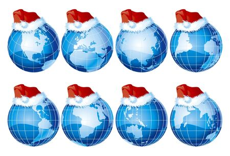 santa cap: set of eight kind of globe with santa claus hat Illustration