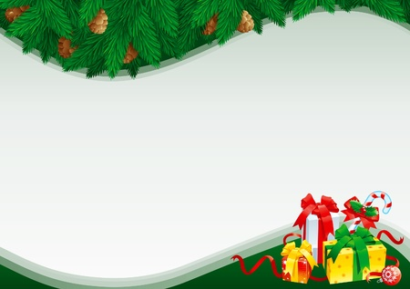 holy leaves: Christmas card with empty blank for text. christmas card with christmas bauble, gift boxes, ribbons and christmas candy cane with holy leaves on green  abstract background with fir branchs and cones.