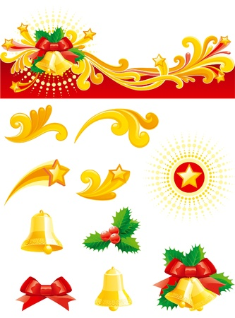 Christmas set. Christmas banner,   gold hand bells, holly leaves, bow and design ornament elements isolated on white background. Vector