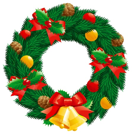 Christmas  wreath. christmas decoration -  fir  wreath with holly leaves and berries, pine cones, baubles, gold hand bells isolated on white background.  Vector