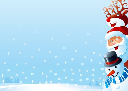 snow background: Christmas card. christmas card of Santa Claus, snowman and Red-Nosed Reindeer  on winter snow landscape.