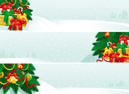 Christmas decorations and Christmas gifts. banners of christmas fir tree with baubles and gift boxes on winter landscape. Vector