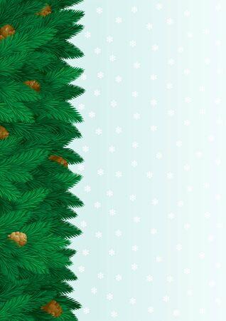 fir cone: De fondo de Navidad �rbol. tarjeta de navidad abeto, cono, copos de nieve con copia espacio para el texto.