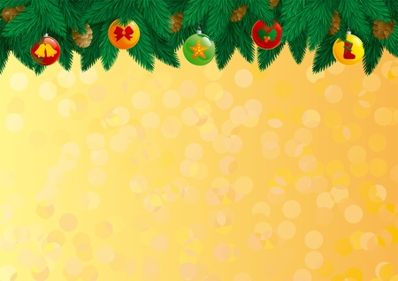Christmas decorations. card of christmas fir tree with baubles and cone on abstract background.  Vector