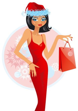 seasonal clothes: Christmas sales. illustration of beautiful younger woman in hat santa that is keeping package Illustration