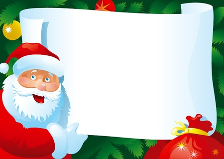 Christmas letter . Vector Card with  Santa Claus and paper for your text.