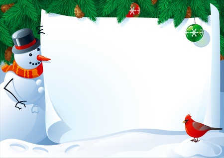 Christmas letter. Vector illustration of snowman and cardinal bird with empty blank on horizontal background with christmas fir tree.