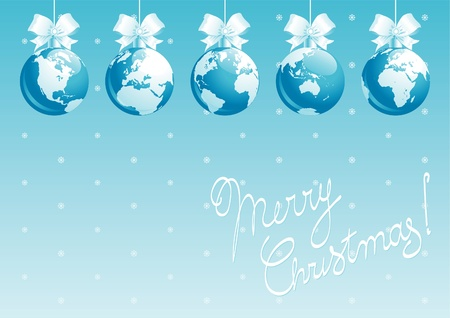 Merry Christmas, all world! Vector illustration of  baubles with globes and Santa Claus with gift bags. Vector
