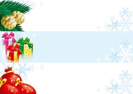 Set of christmas banners for web design. Vector christmas banners with gift boxes, bags and fir cones and branches Stock Vector - 11561124
