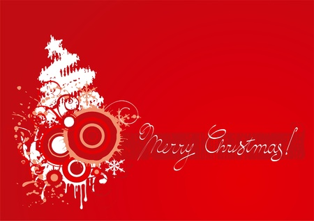 Christmas card. Vector illustration of christmas card with stylized fir tree and grunge elements Vector