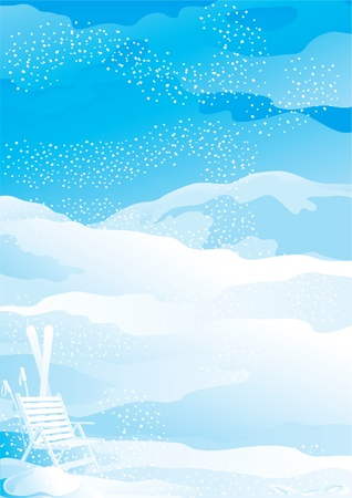 snow field: Winter snow landscape. Snowflakes, ski and deck chair on vector winter snow landscape  Illustration