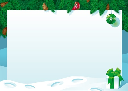 snow track: Christmas card. Vector illustration of empty blank and gift box on horizontal background with christmas fir tree.