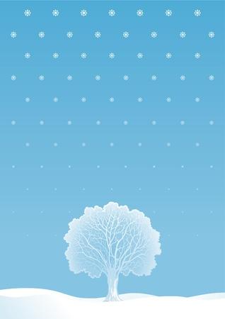 Invierno �rbol. Vector paisaje de invierno con el �rbol solo y copos de nieve.