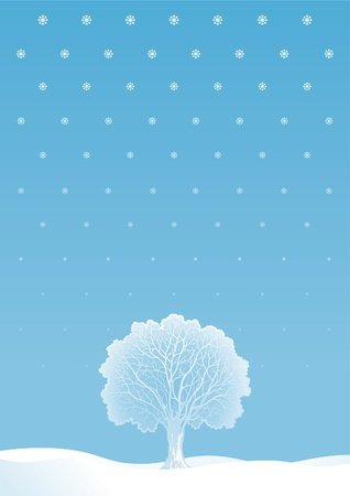 Winter tree. Vector  winter landscape with alone tree and snowflakes.  Vector