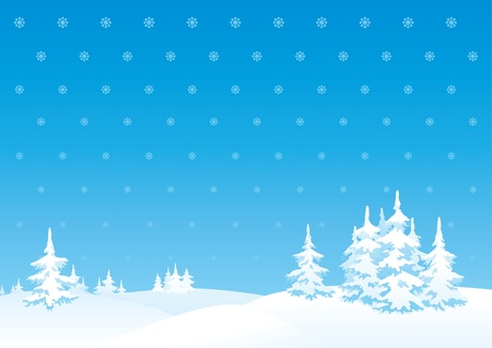 the trees covered with snow: Vector vertical background of winter landscape