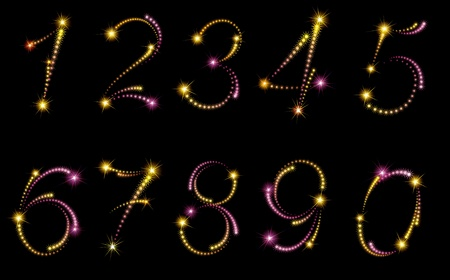 Fireworks numbers. Vector set of fireworks numbers on black background.