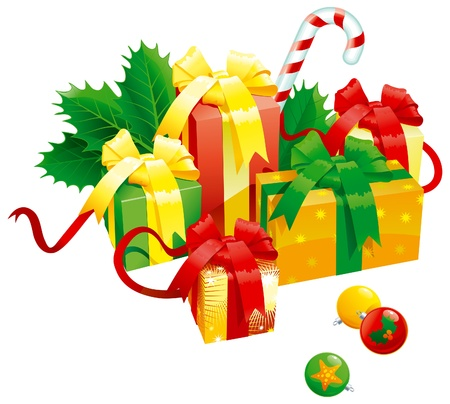 holy leaves: Christmas presents. Vector of christmas presents - gift boxes with bow, candy cane, baubles end holy leaves isolated on white background