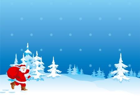 bolsa de regalo: Santa Claus se apresura para Navidad. Santa Claus con una bolsa de regalo de color rojo pasa a trav�s de bosque de invierno