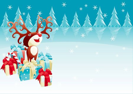 Red-Nosed Reindeer. Christmas background with Red-Nosed reindeer and many gifts and presents. Vector