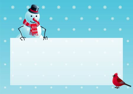 Snowman and cardinal bird with christmas letter. Vector illustration of snowman and cardinal bird with empty blank on horizontal background with snowflakes.  Vector