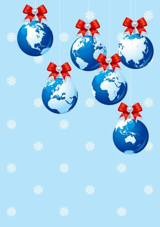 natale: Merry Christmas!. Vector illustration with baubles as the globes and copy space