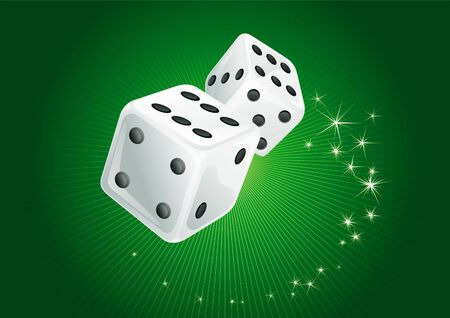 White dices. Vector green background of two white casino dices and  stars. There are no meshes in this image. Stock Vector - 11675187