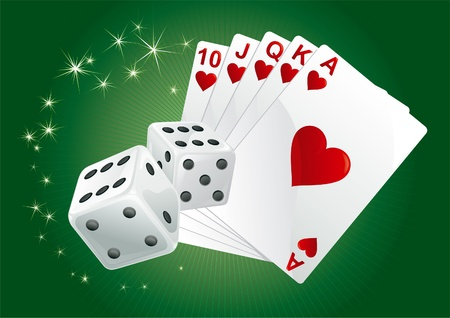 Casino background. Casino dices and  cards on green rays background. There are no meshes in this image.