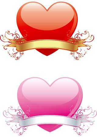 Valentines hearts. Vector illustration of two hearts with ribbon and  ornament for valentine Vector