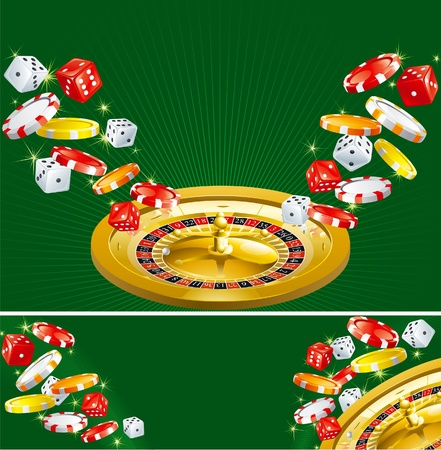 token: Two casino backgrounds. Wallpapers and banner of casino dices, chips and roulette  on green background. Illustration